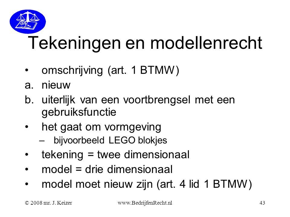 © 2008 mr.J. Keizerwww.BedrijfenRecht.nl43 Tekeningen en modellenrecht omschrijving (art.