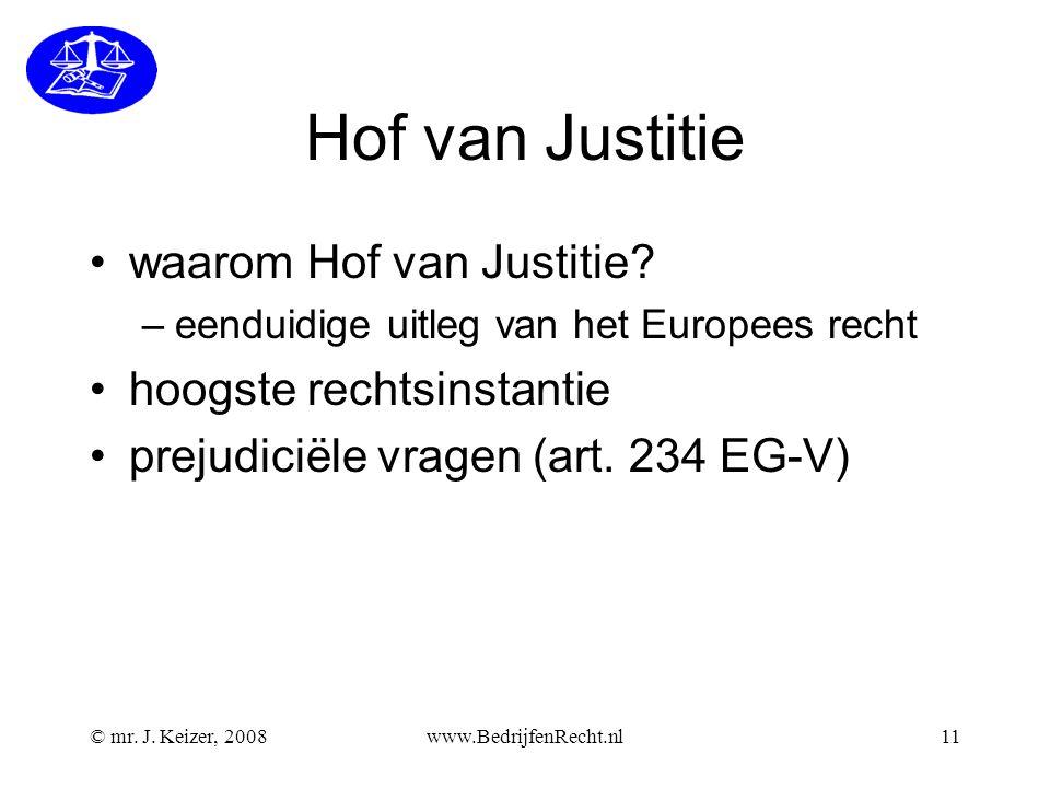 © mr.J. Keizer, 2008www.BedrijfenRecht.nl11 Hof van Justitie waarom Hof van Justitie.