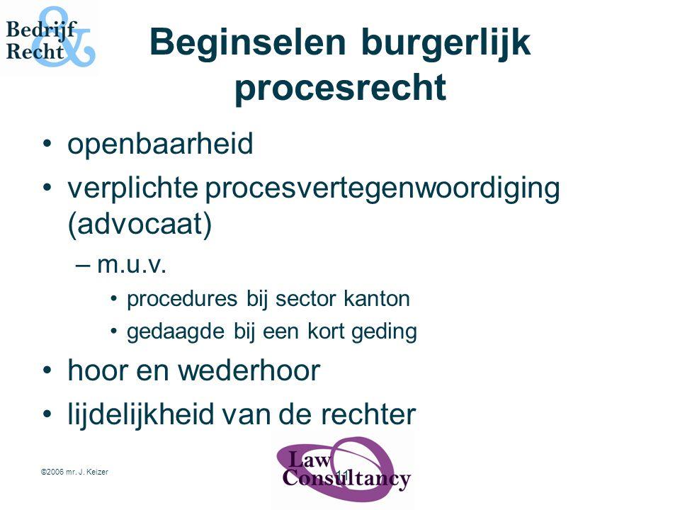 ©2006 mr. J. Keizer 11 Beginselen burgerlijk procesrecht openbaarheid verplichte procesvertegenwoordiging (advocaat) –m.u.v. procedures bij sector kan