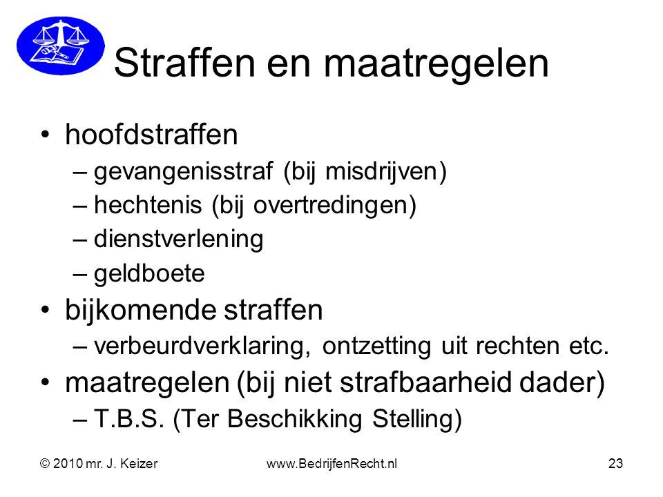 © 2010 mr. J. Keizerwww.BedrijfenRecht.nl23 Straffen en maatregelen hoofdstraffen –gevangenisstraf (bij misdrijven) –hechtenis (bij overtredingen) –di