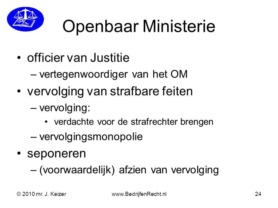 © 2010 mr. J. Keizerwww.BedrijfenRecht.nl24 Openbaar Ministerie officier van Justitie –vertegenwoordiger van het OM vervolging van strafbare feiten –v