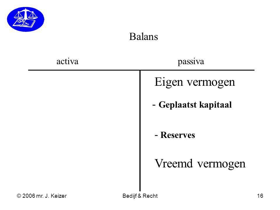© 2006 mr. J. KeizerBedijf & Recht16 Balans activapassiva - Geplaatst kapitaal - Reserves Eigen vermogen Vreemd vermogen
