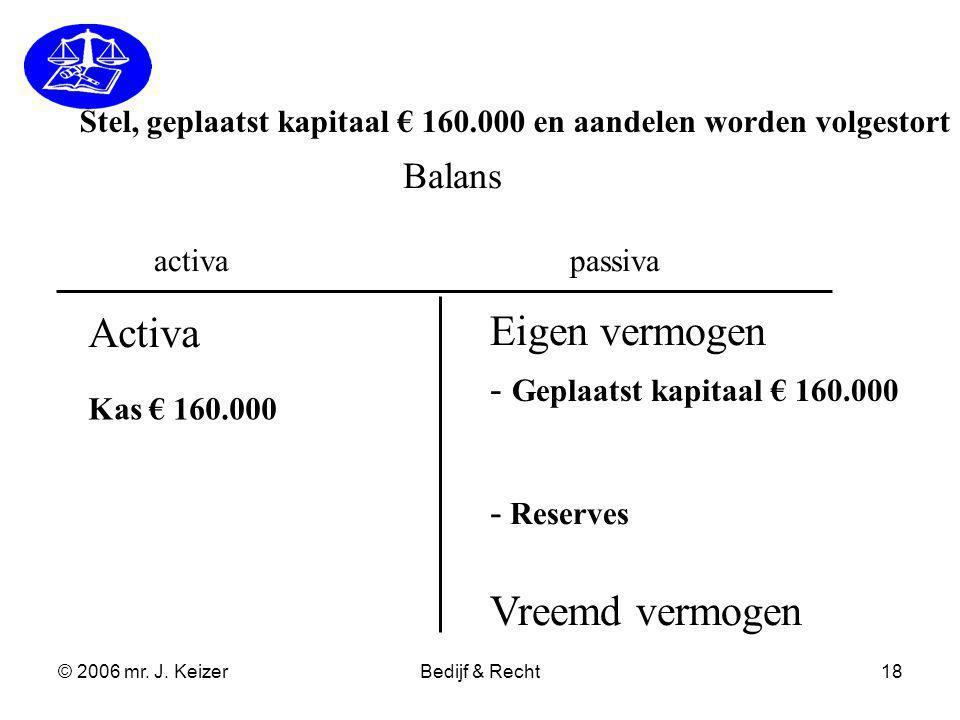 © 2006 mr. J. KeizerBedijf & Recht18 Balans activapassiva - Geplaatst kapitaal € 160.000 - Reserves Eigen vermogen Vreemd vermogen Activa Kas € 160.00