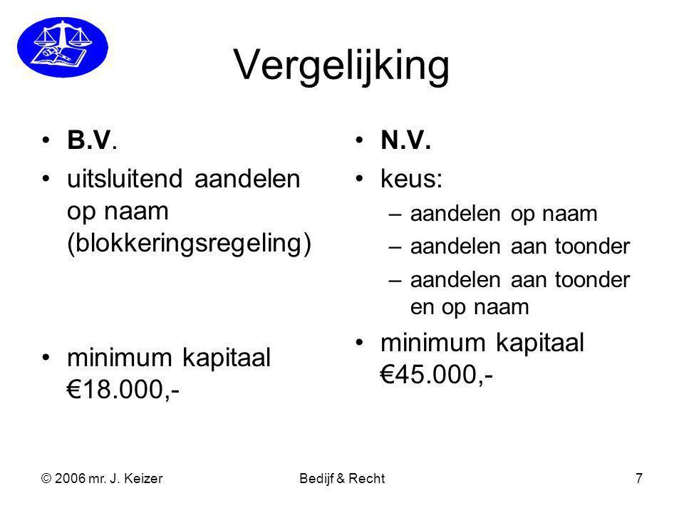 © 2006 mr. J. KeizerBedijf & Recht7 Vergelijking B.V. uitsluitend aandelen op naam (blokkeringsregeling) minimum kapitaal €18.000,- N.V. keus: –aandel