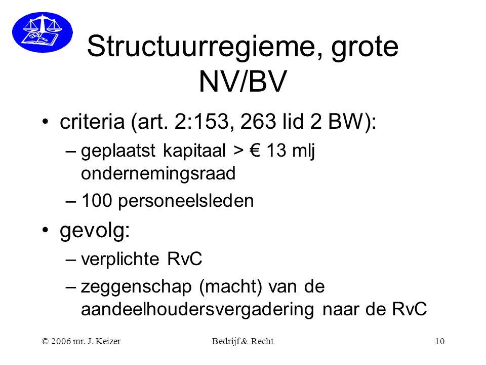 © 2006 mr. J. KeizerBedrijf & Recht10 Structuurregieme, grote NV/BV criteria (art. 2:153, 263 lid 2 BW): –geplaatst kapitaal > € 13 mlj ondernemingsra