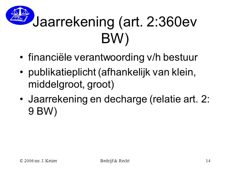 © 2006 mr. J. KeizerBedrijf & Recht14 Jaarrekening (art. 2:360ev BW) financiële verantwoording v/h bestuur publikatieplicht (afhankelijk van klein, mi
