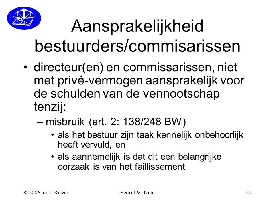 © 2006 mr. J. KeizerBedrijf & Recht22 Aansprakelijkheid bestuurders/commisarissen directeur(en) en commissarissen, niet met privé-vermogen aansprakeli