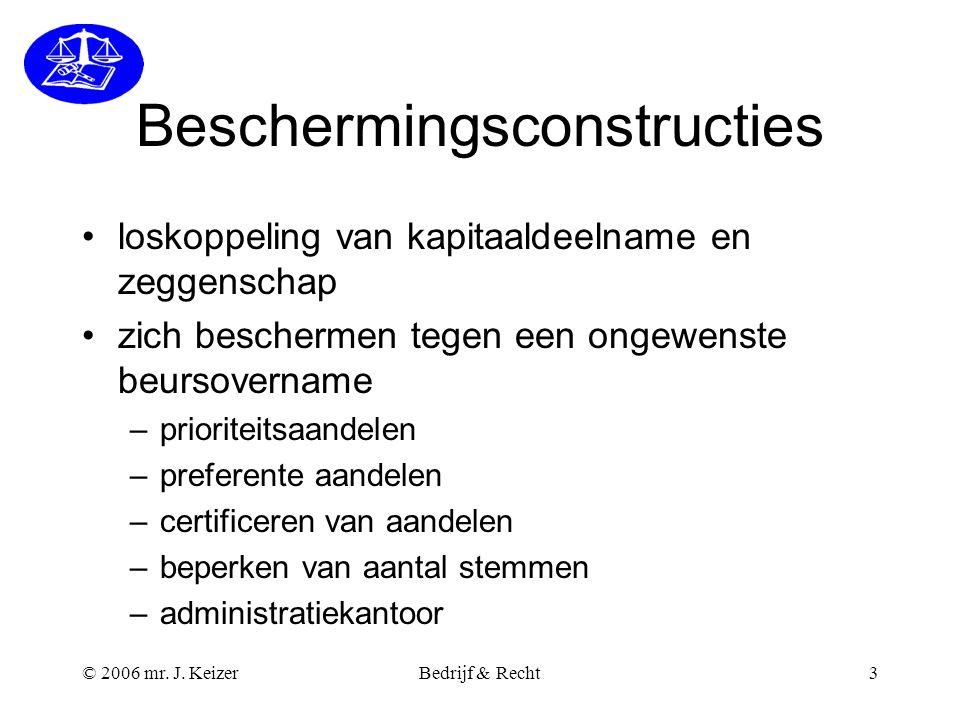 © 2006 mr. J. KeizerBedrijf & Recht3 Beschermingsconstructies loskoppeling van kapitaaldeelname en zeggenschap zich beschermen tegen een ongewenste be