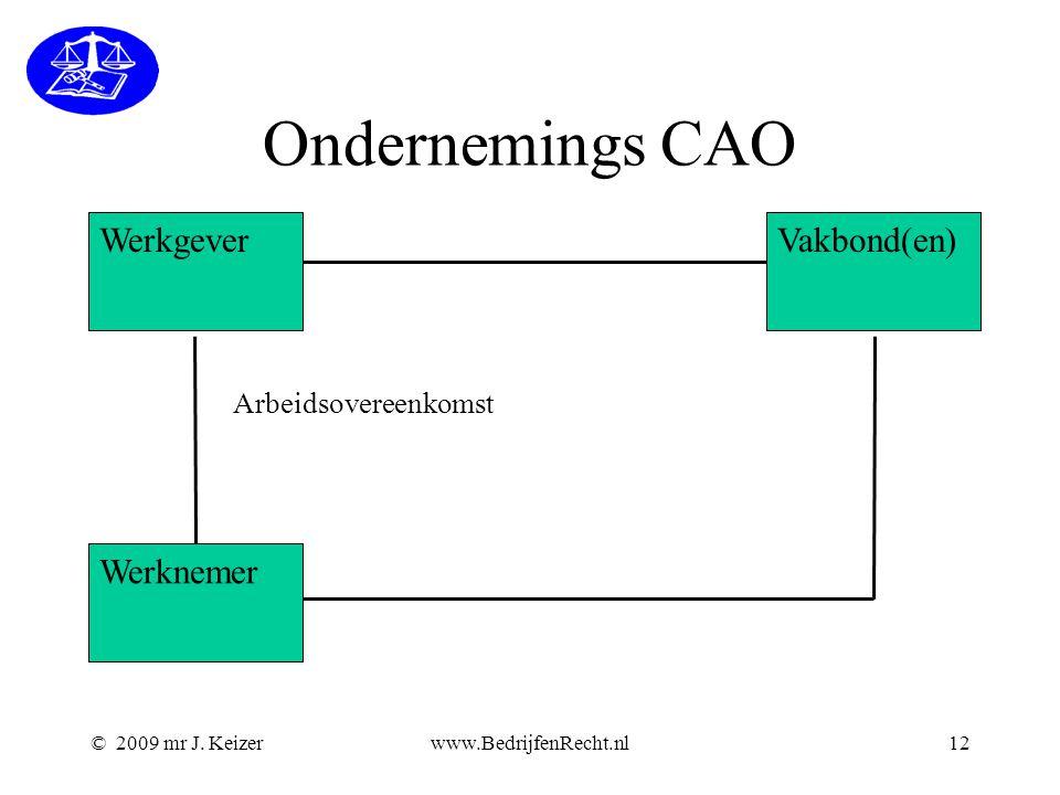 © 2009 mr J. Keizerwww.BedrijfenRecht.nl12 Ondernemings CAO Werkgever Werknemer Vakbond(en) Arbeidsovereenkomst