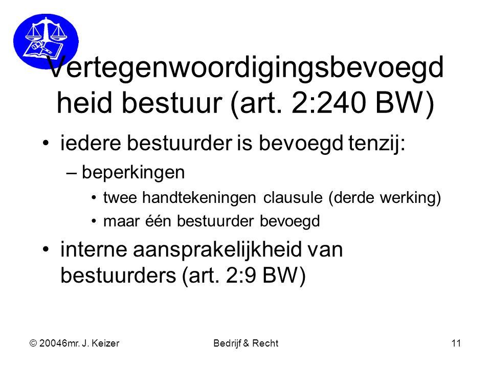 © 20046mr. J. KeizerBedrijf & Recht11 Vertegenwoordigingsbevoegd heid bestuur (art. 2:240 BW) iedere bestuurder is bevoegd tenzij: –beperkingen twee h