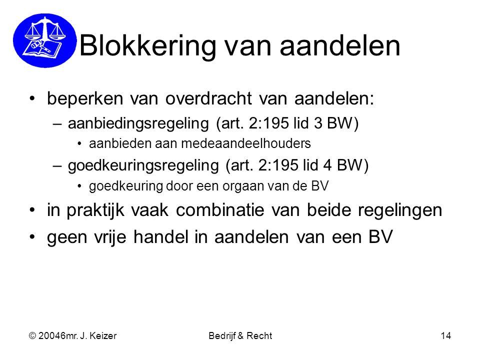 © 20046mr. J. KeizerBedrijf & Recht14 Blokkering van aandelen beperken van overdracht van aandelen: –aanbiedingsregeling (art. 2:195 lid 3 BW) aanbied