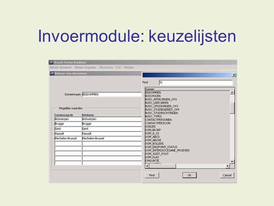 Invoermodule: keuzelijsten