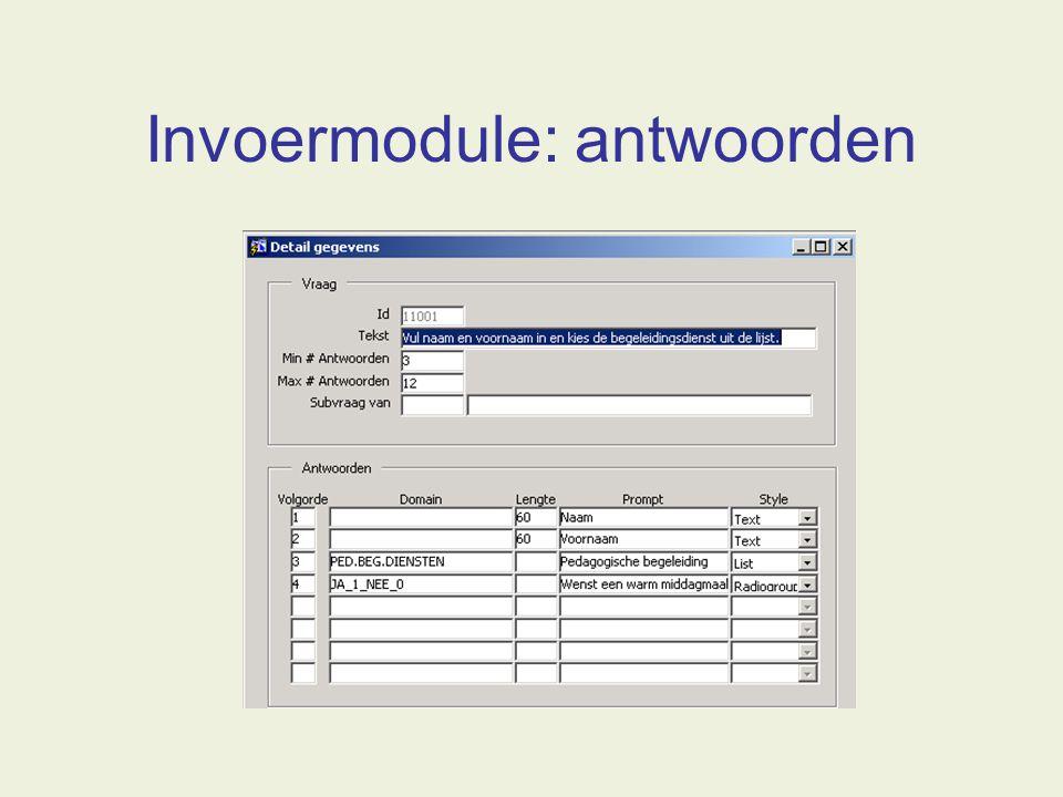 Invoermodule: antwoorden
