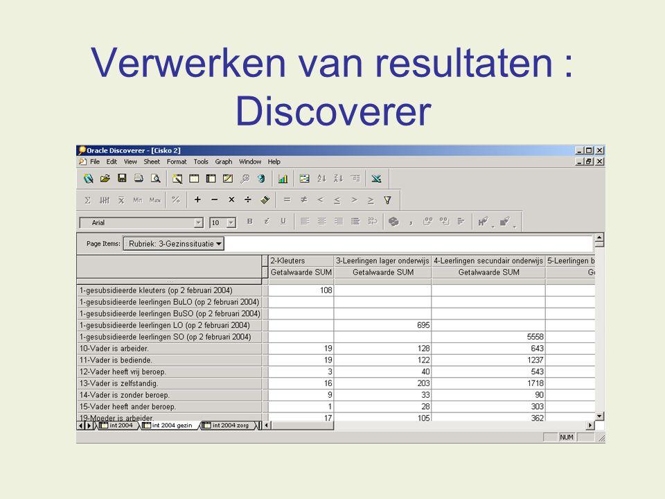 Verwerken van resultaten : Discoverer