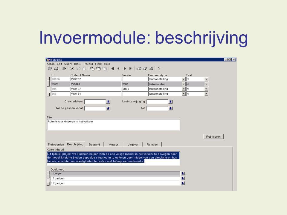 Invoermodule: beschrijving