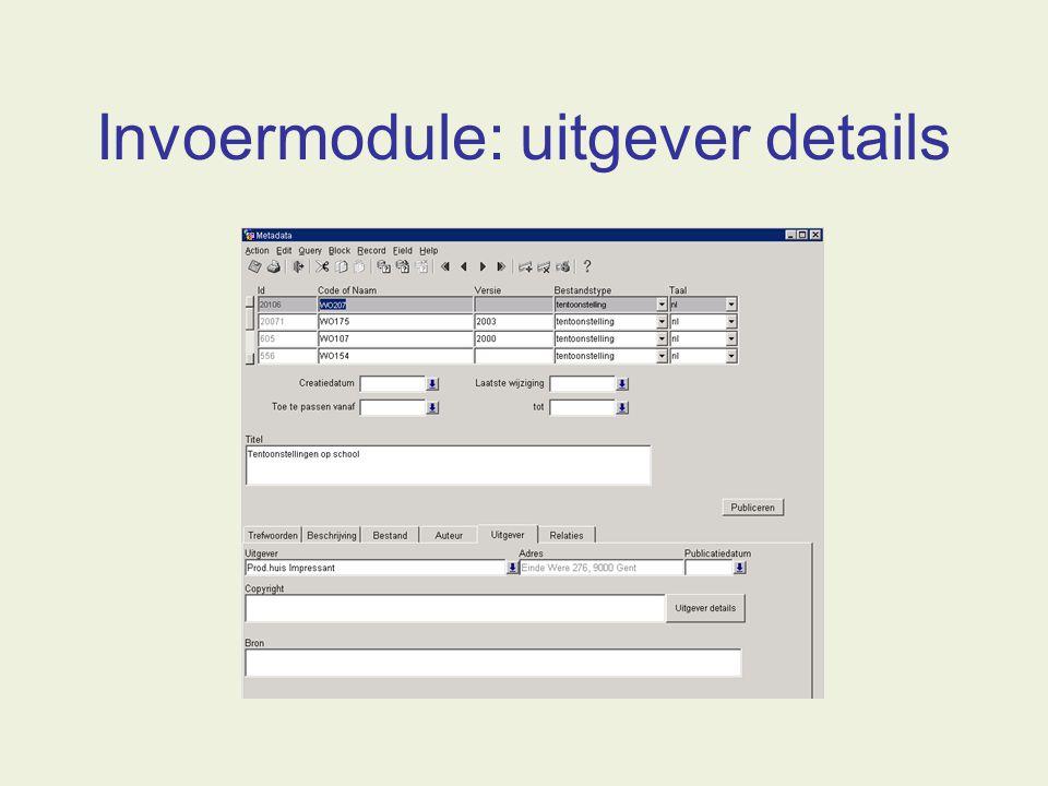 Invoermodule: uitgever details