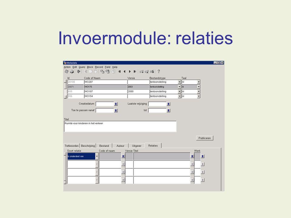 Invoermodule: relaties