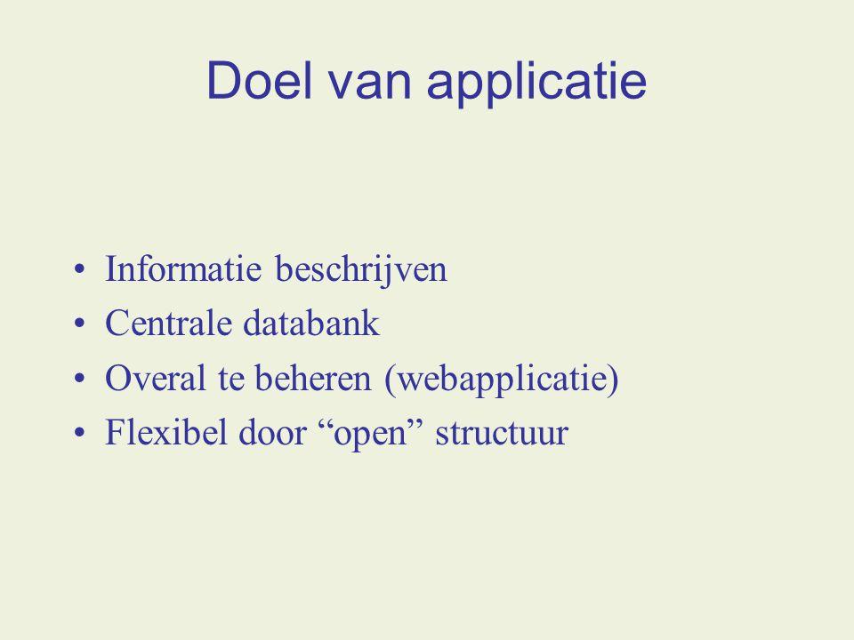 Doel van applicatie Informatie beschrijven Centrale databank Overal te beheren (webapplicatie) Flexibel door open structuur