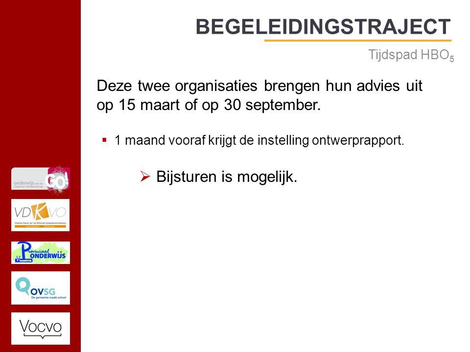 17/09/2014 BEGELEIDINGSTRAJECT Tijdspad HBO 5 Deze twee organisaties brengen hun advies uit op 15 maart of op 30 september.