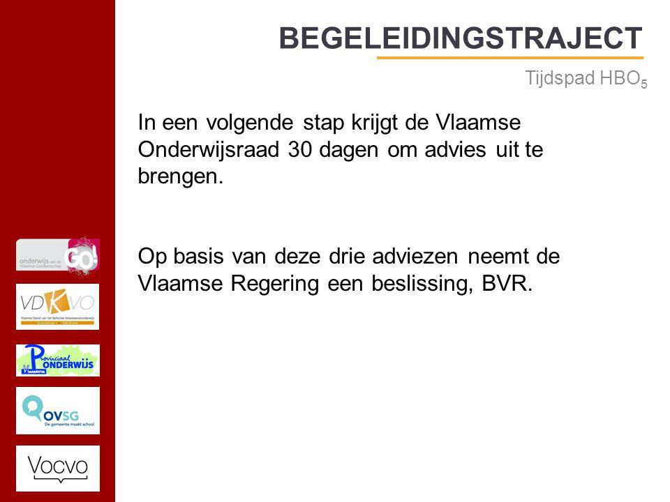 17/09/2014 BEGELEIDINGSTRAJECT Tijdspad HBO 5 In een volgende stap krijgt de Vlaamse Onderwijsraad 30 dagen om advies uit te brengen.