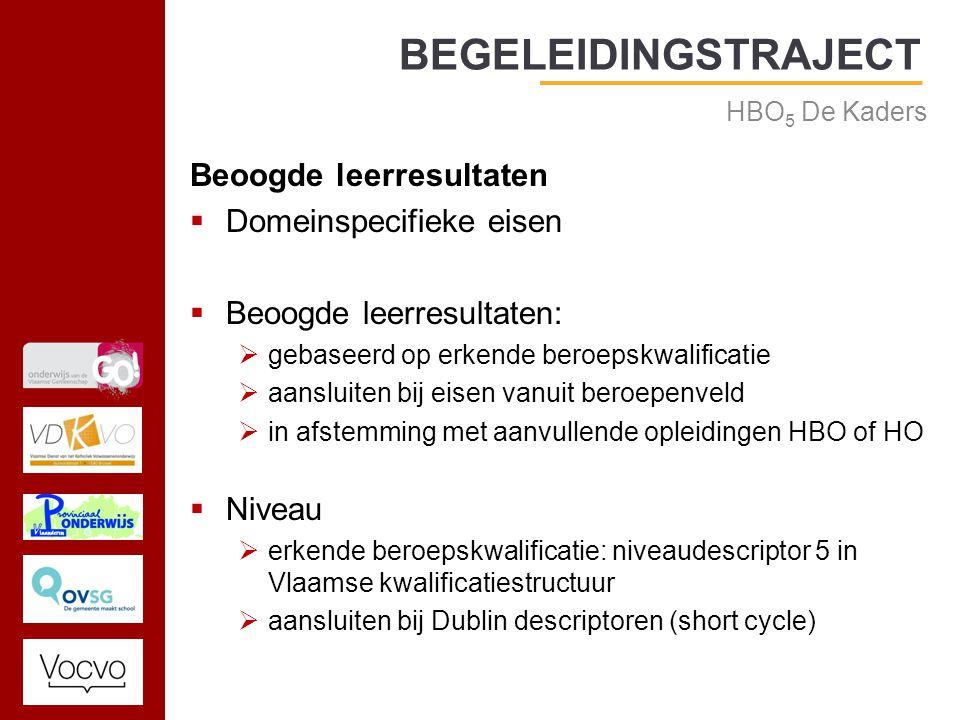 17/09/2014 Beoogde leerresultaten  Domeinspecifieke eisen  Beoogde leerresultaten:  gebaseerd op erkende beroepskwalificatie  aansluiten bij eisen vanuit beroepenveld  in afstemming met aanvullende opleidingen HBO of HO  Niveau  erkende beroepskwalificatie: niveaudescriptor 5 in Vlaamse kwalificatiestructuur  aansluiten bij Dublin descriptoren (short cycle) BEGELEIDINGSTRAJECT HBO 5 De Kaders