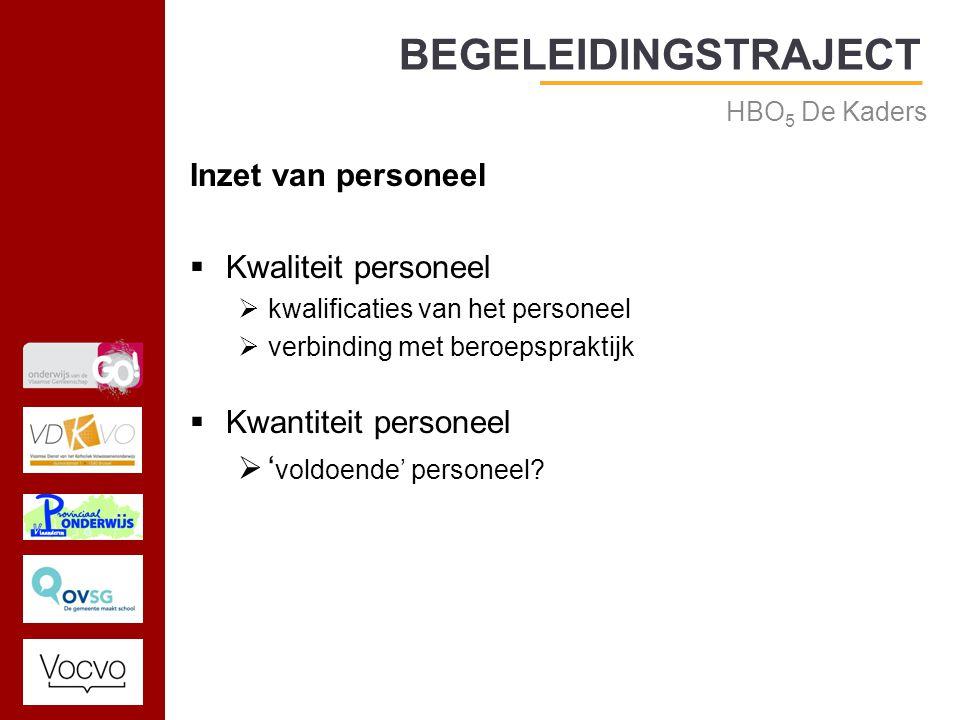 17/09/2014 Inzet van personeel  Kwaliteit personeel  kwalificaties van het personeel  verbinding met beroepspraktijk  Kwantiteit personeel  ' voldoende' personeel.