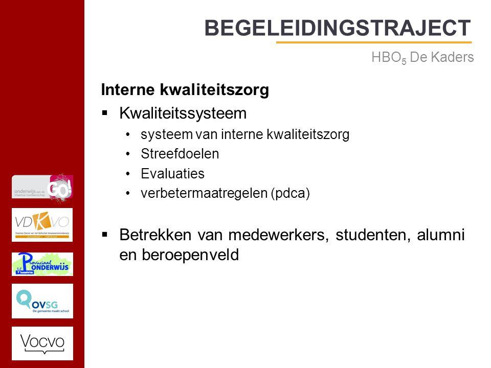 17/09/2014 Interne kwaliteitszorg  Kwaliteitssysteem systeem van interne kwaliteitszorg Streefdoelen Evaluaties verbetermaatregelen (pdca)  Betrekken van medewerkers, studenten, alumni en beroepenveld BEGELEIDINGSTRAJECT HBO 5 De Kaders
