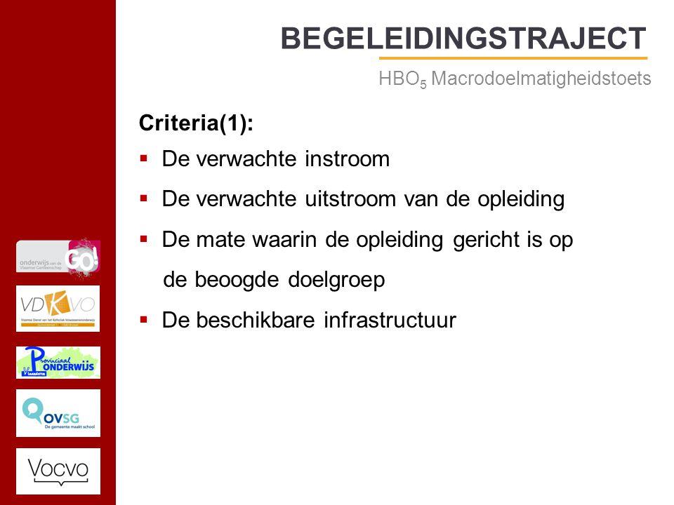 17/09/2014 BEGELEIDINGSTRAJECT HBO 5 Macrodoelmatigheidstoets Criteria(1):  De verwachte instroom  De verwachte uitstroom van de opleiding  De mate waarin de opleiding gericht is op de beoogde doelgroep  De beschikbare infrastructuur