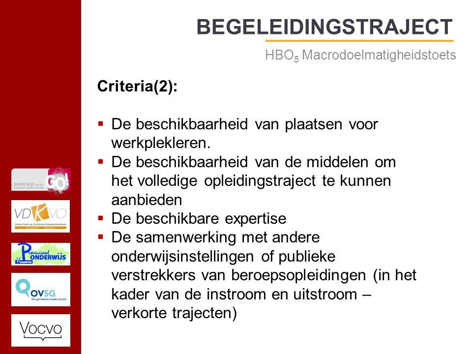 17/09/2014 BEGELEIDINGSTRAJECT HBO 5 Macrodoelmatigheidstoets Criteria(2):  De beschikbaarheid van plaatsen voor werkplekleren.
