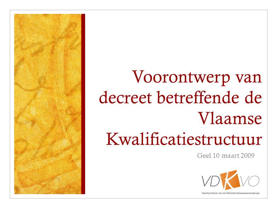 Voorontwerp van decreet betreffende de Vlaamse Kwalificatiestructuur Geel 10 maart 2009