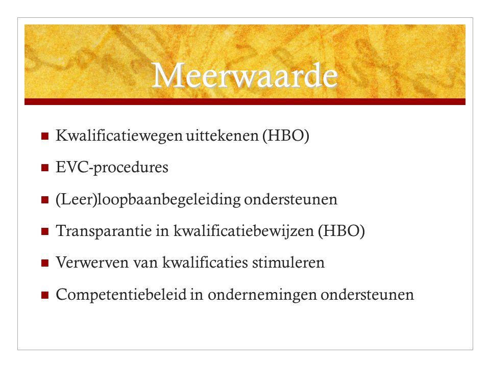 Meerwaarde Kwalificatiewegen uittekenen (HBO) EVC-procedures (Leer)loopbaanbegeleiding ondersteunen Transparantie in kwalificatiebewijzen (HBO) Verwerven van kwalificaties stimuleren Competentiebeleid in ondernemingen ondersteunen
