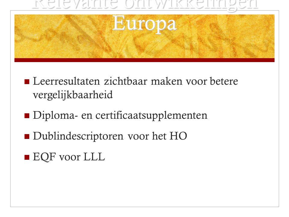 Relevante ontwikkelingen Europa Leerresultaten zichtbaar maken voor betere vergelijkbaarheid Diploma- en certificaatsupplementen Dublindescriptoren voor het HO EQF voor LLL