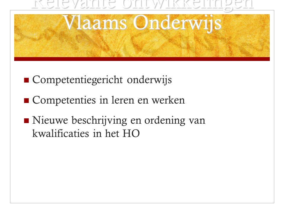 Relevante ontwikkelingen Vlaams Onderwijs Competentiegericht onderwijs Competenties in leren en werken Nieuwe beschrijving en ordening van kwalificaties in het HO