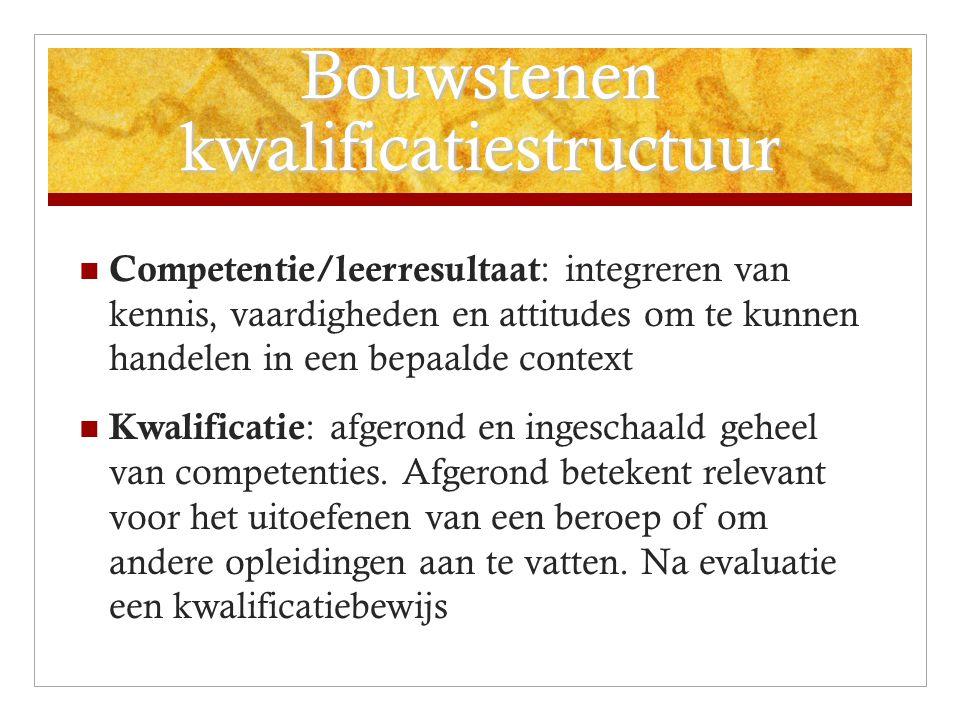 Bouwstenen kwalificatiestructuur Competentie/leerresultaat : integreren van kennis, vaardigheden en attitudes om te kunnen handelen in een bepaalde context Kwalificatie : afgerond en ingeschaald geheel van competenties.