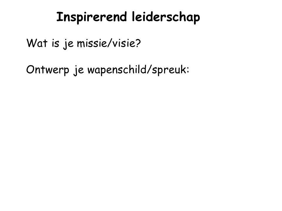 Inspirerend leiderschap Wat is je missie/visie? Ontwerp je wapenschild/spreuk: