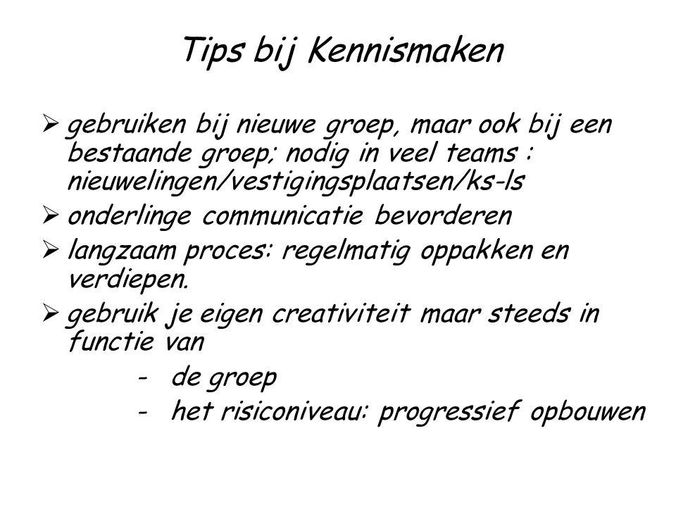 Tips bij Kennismaken  gebruiken bij nieuwe groep, maar ook bij een bestaande groep; nodig in veel teams : nieuwelingen/vestigingsplaatsen/ks-ls  onderlinge communicatie bevorderen  langzaam proces: regelmatig oppakken en verdiepen.