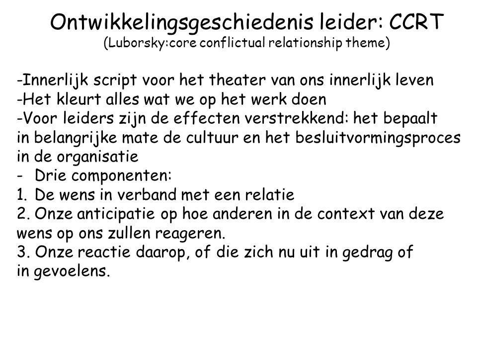 Ontwikkelingsgeschiedenis leider: CCRT (Luborsky:core conflictual relationship theme) -Innerlijk script voor het theater van ons innerlijk leven -Het