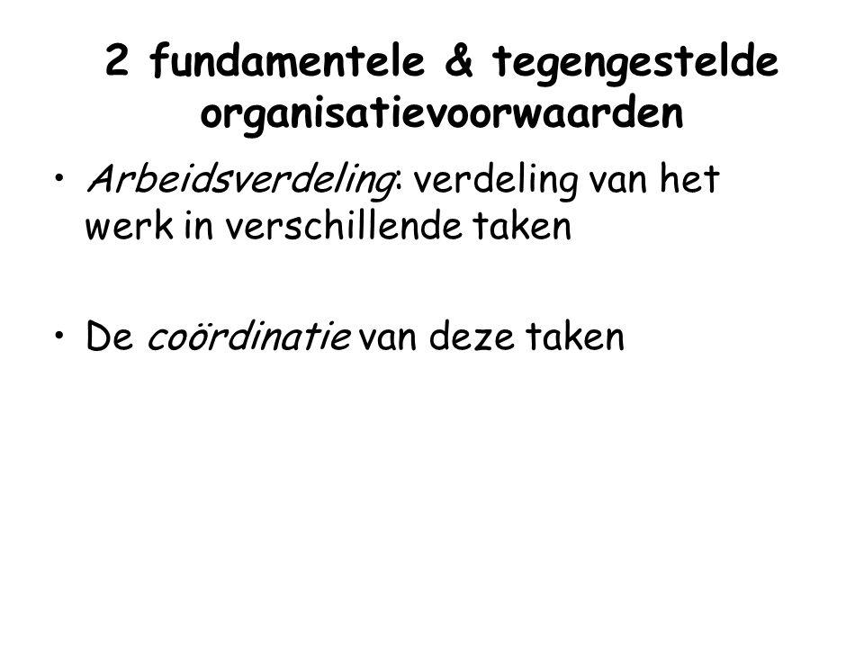 2 fundamentele & tegengestelde organisatievoorwaarden Arbeidsverdeling: verdeling van het werk in verschillende taken De coördinatie van deze taken
