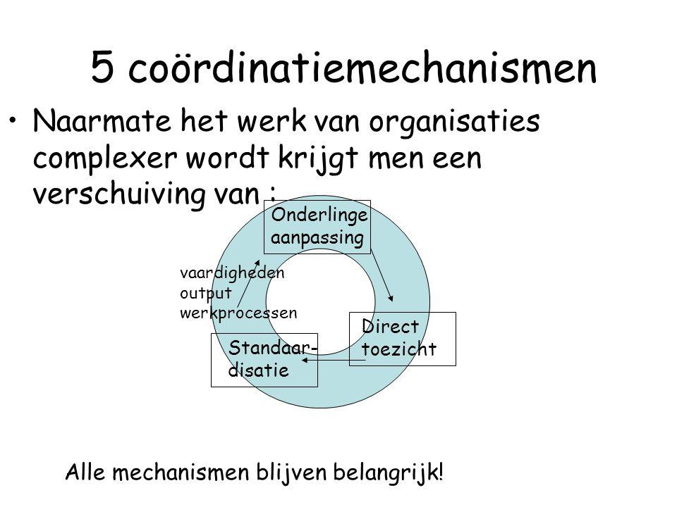 5 coördinatiemechanismen Naarmate het werk van organisaties complexer wordt krijgt men een verschuiving van : Onderlinge aanpassing Direct toezicht St