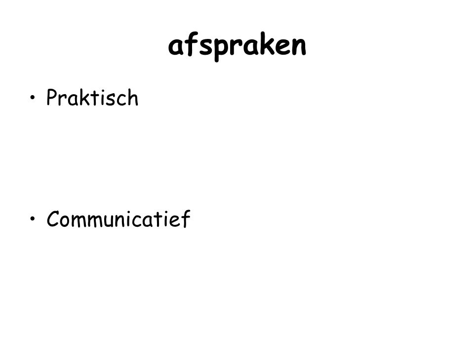 samenhang Taakproces---------------groepsproces Oriëntatie Afspraken Productiviteit Erbij horen (integratie) Invloed (controle) Persoonlijk contact (affectiviteit) Afronden
