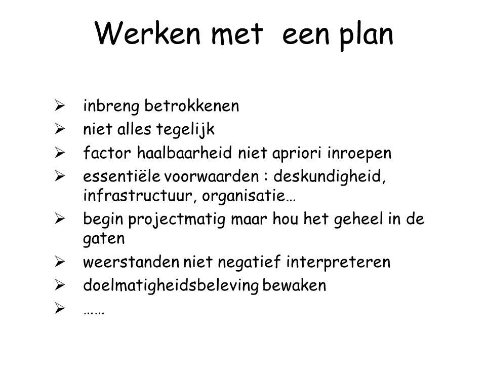 Opstellen van een plan (werkblad actieplan)  doelstellingen, plannen, concrete activiteiten voor een bepaald werkjaar  voortdurend proces : plannen,