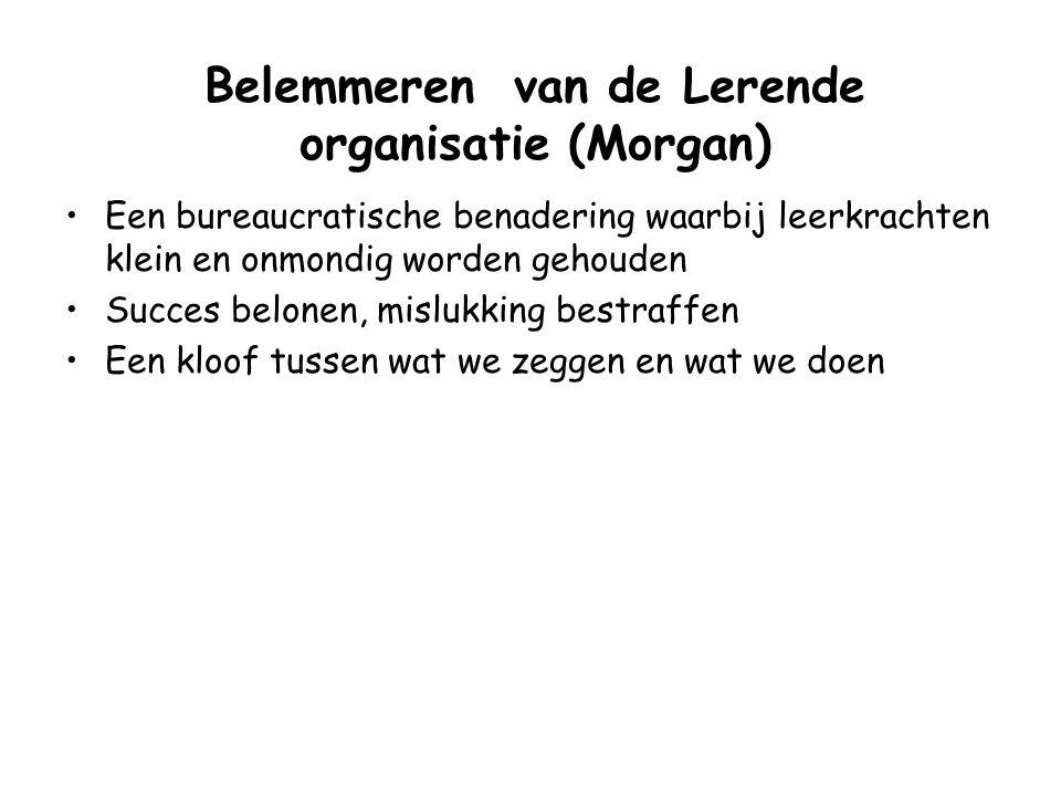 Faciliteren van de Lerende organisatie (Morgan) Sta open voor verandering in de omgeving Waardeer openheid over en reflectie op fouten en moedig dit a