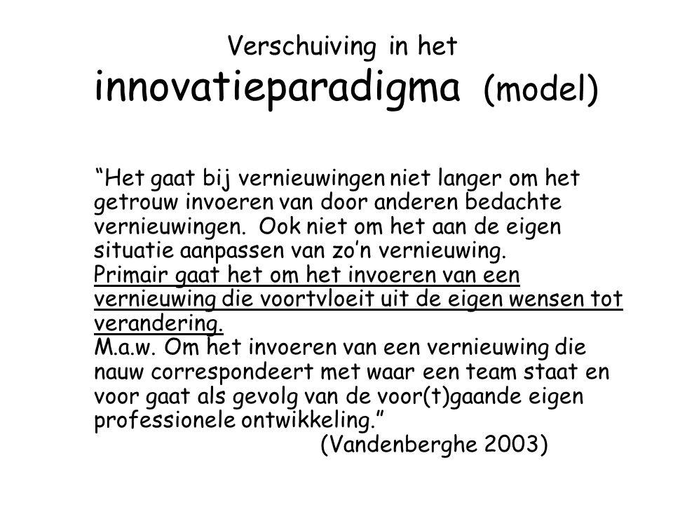 """Verschuiving in het innovatieparadigma (model) """"Het gaat bij vernieuwingen niet langer om het getrouw invoeren van door anderen bedachte vernieuwingen"""