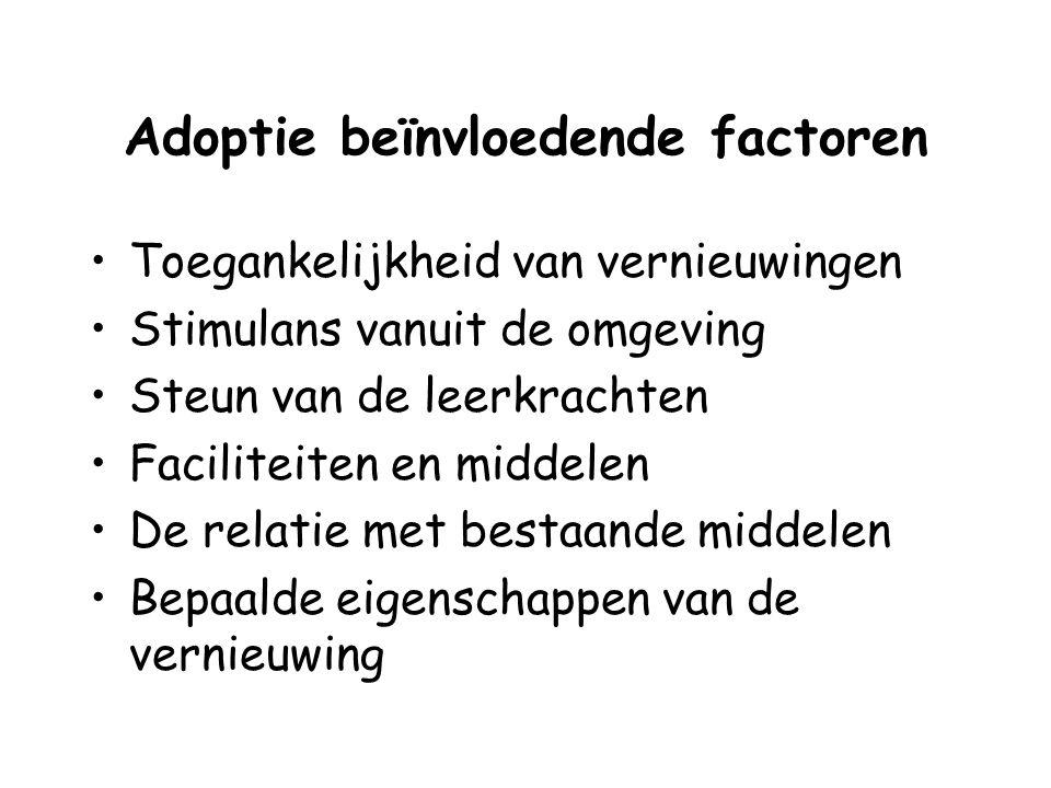 Adoptie beïnvloedende factoren Toegankelijkheid van vernieuwingen Stimulans vanuit de omgeving Steun van de leerkrachten Faciliteiten en middelen De r