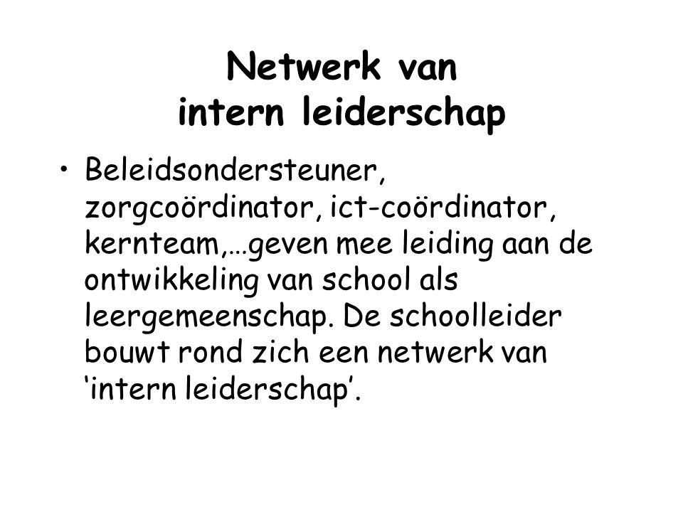 Netwerk van intern leiderschap Beleidsondersteuner, zorgcoördinator, ict-coördinator, kernteam,…geven mee leiding aan de ontwikkeling van school als l