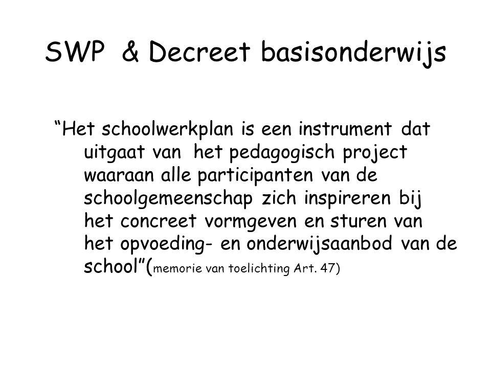 """SWP & Decreet basisonderwijs """"Het schoolwerkplan is een instrument dat uitgaat van het pedagogisch project waaraan alle participanten van de schoolgem"""