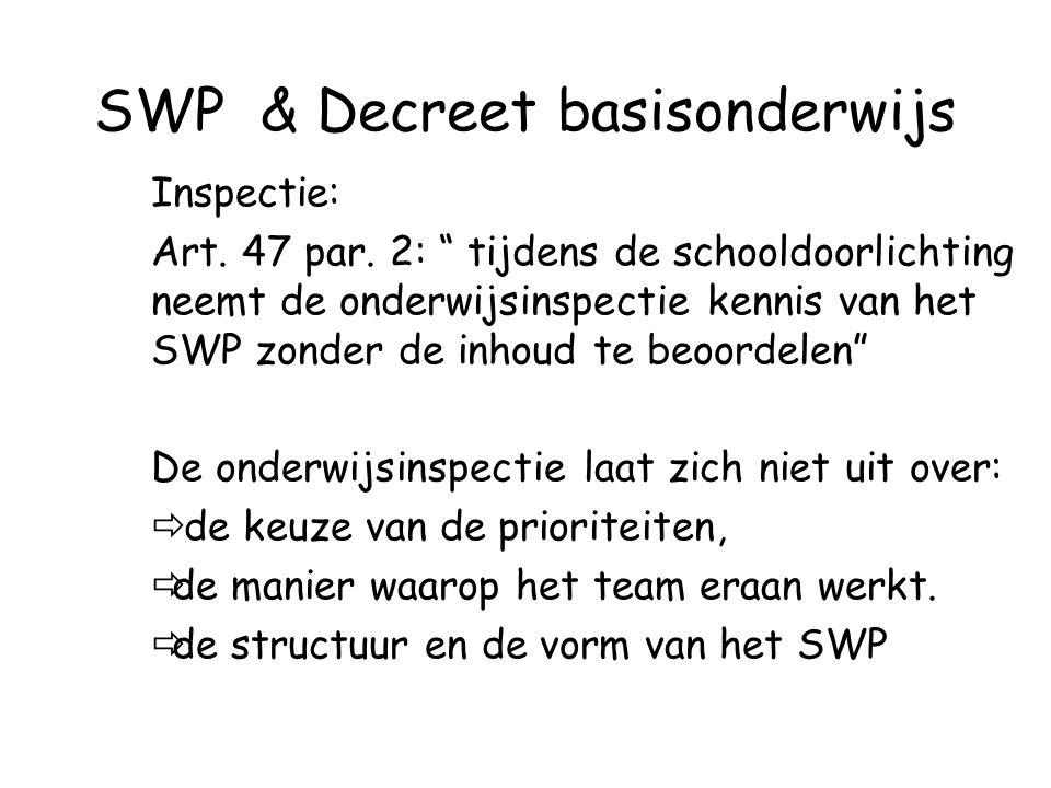 """SWP & Decreet basisonderwijs Inspectie: Art. 47 par. 2: """" tijdens de schooldoorlichting neemt de onderwijsinspectie kennis van het SWP zonder de inhou"""