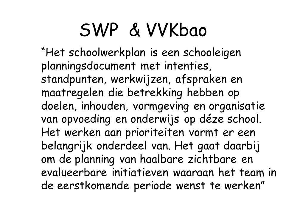 """SWP & VVKbao """"Het schoolwerkplan is een schooleigen planningsdocument met intenties, standpunten, werkwijzen, afspraken en maatregelen die betrekking"""