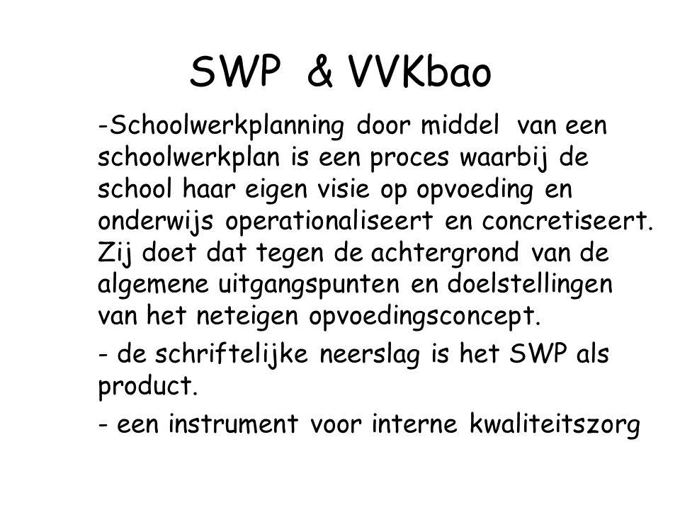 SWP & VVKbao -Schoolwerkplanning door middel van een schoolwerkplan is een proces waarbij de school haar eigen visie op opvoeding en onderwijs operati