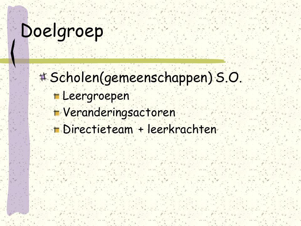 Doelgroep Scholen(gemeenschappen) S.O. Leergroepen Veranderingsactoren Directieteam + leerkrachten